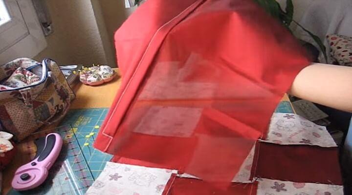coser el borde la cremallera para funda de cojin con patchwork
