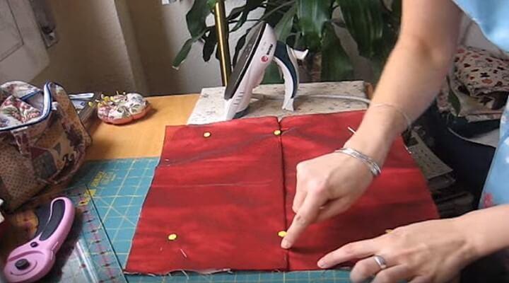 doblar encima de la cremallera para funda de cojin con patchwork