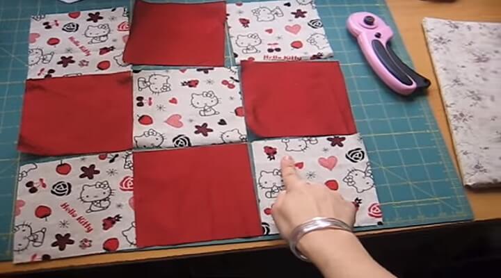 piezas para funda de cojin con patchwork