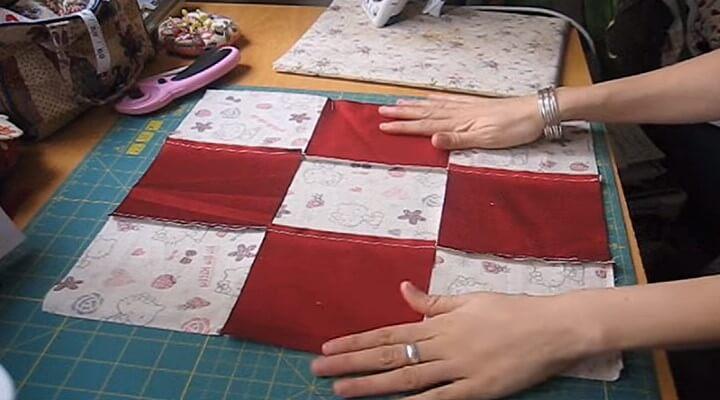 costuras para funda de cojin con patchwork