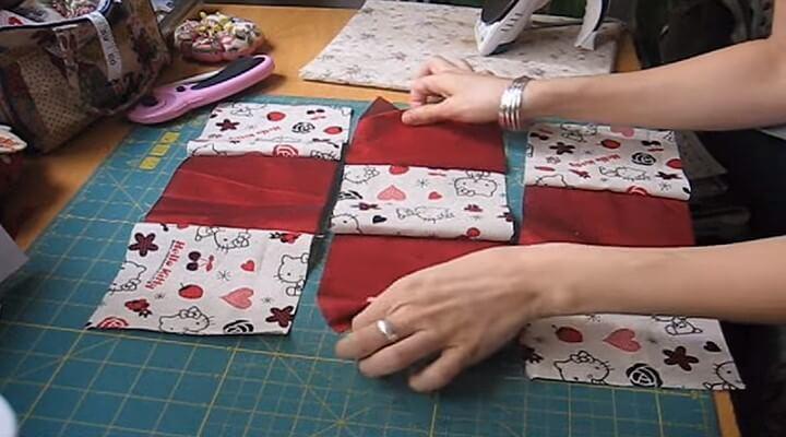 telas unidas horizontalmente para funda de cojin con patchwork
