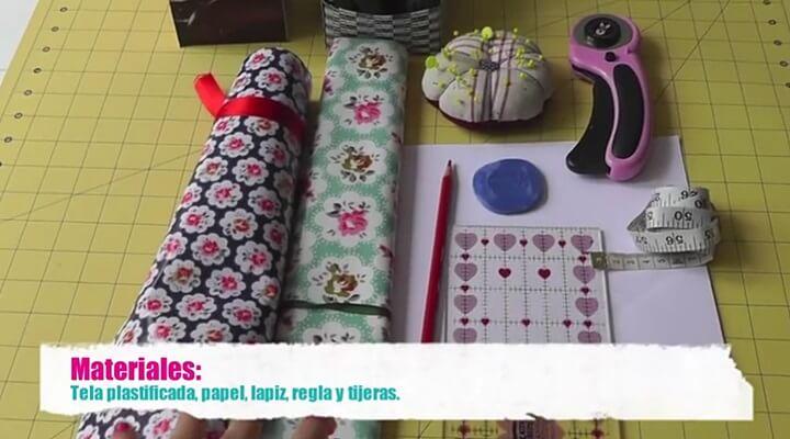 cesta de tela plastificada - materiales