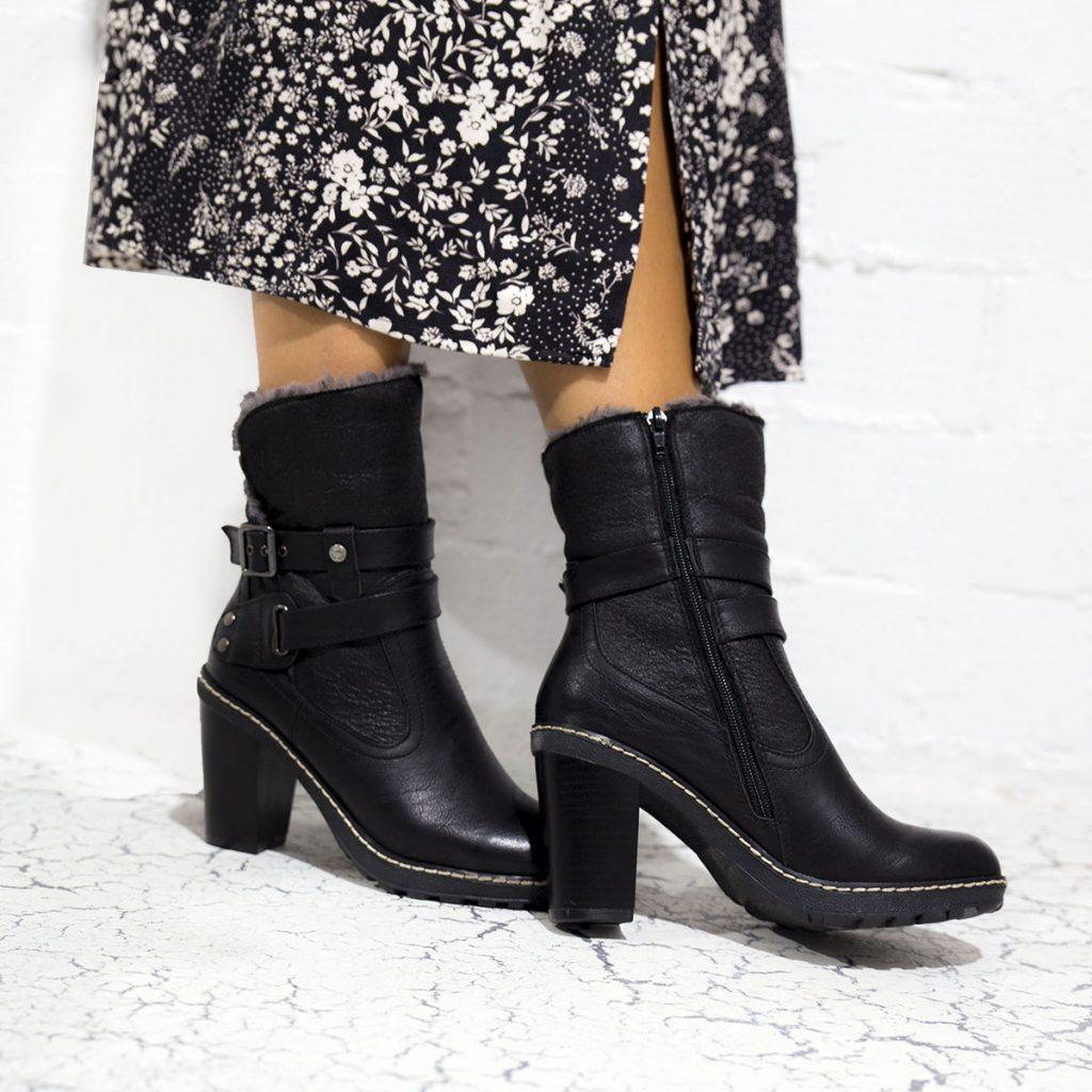 botines negros con cremallera mujer