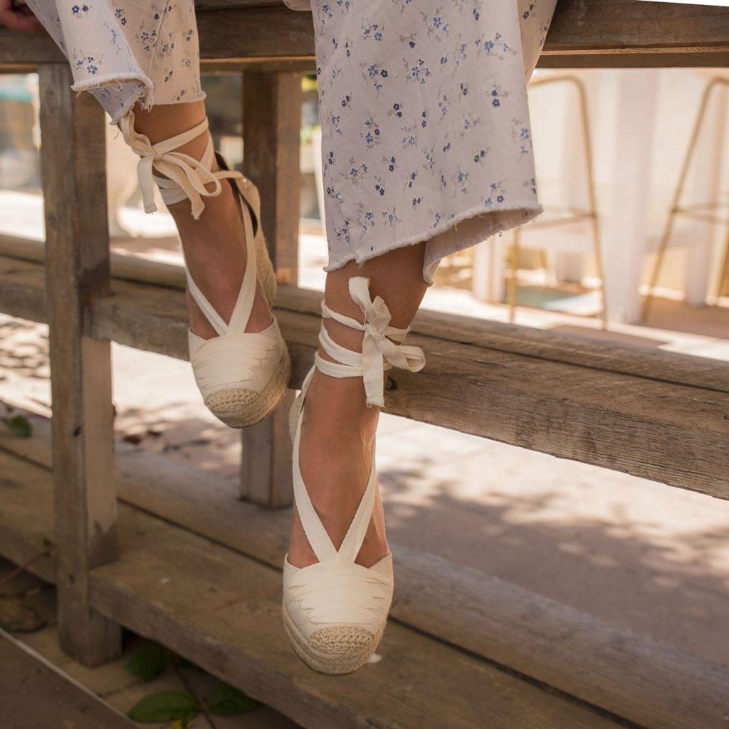 Zapatos plataforma esparto color beig mujer